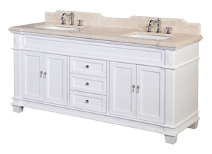 Elizabeth 72-inch Double Vanity with Crema Marfil Top