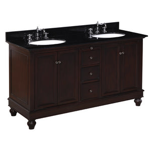 "Bella 60"" Chocolate Brown Double Sink Bathroom Vanity with Black Top"