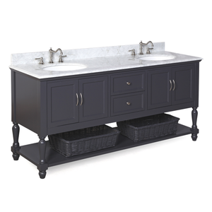 "Beverly 72"" Bathroom Vanity in Carrara Marble & Charcoal Gray"