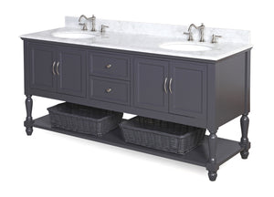 Beverly 72-inch Double Vanity with Carrara Marble Top
