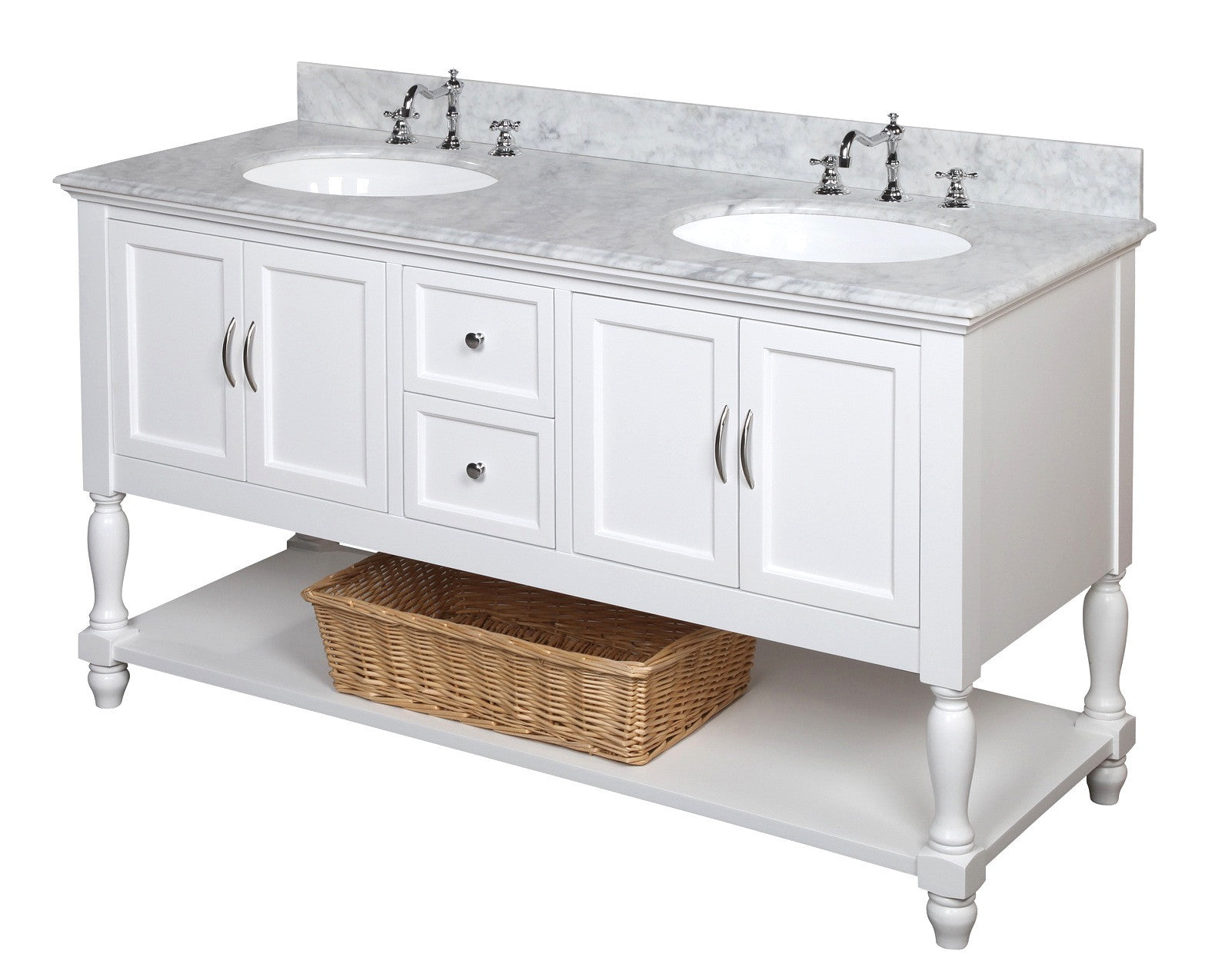 Beverly 60-inch Double (Carrara/White)