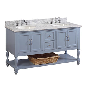 "Beverly 60"" Powder Blue Double Bathroom Vanity with Carrara Marble Top"