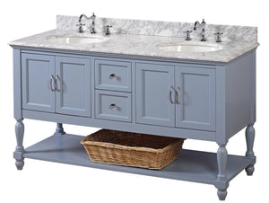 Beverly 60-inch Double Vanity (Carrara Marble)