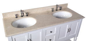 Beverly 60-inch Double Vanity with Crema Marfil Top