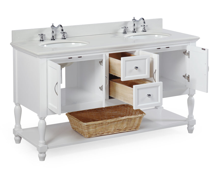 "Beverly 60"" White Double Bathroom Vanity with Quartz Top"