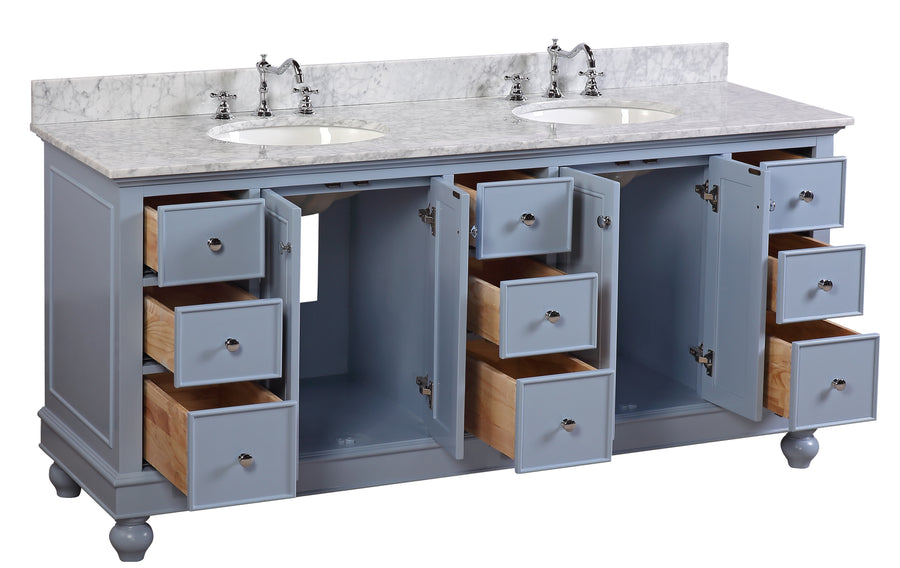 "Bella 72"" Powder Blue Bathroom Vanity with Carrara Marble Top"