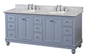Bella 72-inch Double Vanity with Carrara Marble Top