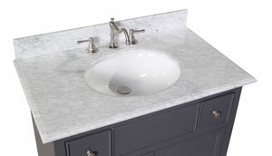 Emily 36-inch Vanity with Carrara Marble Top