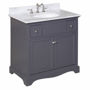"Emily 36"" Bathroom Vanity in Carrara & Charcoal Gray"