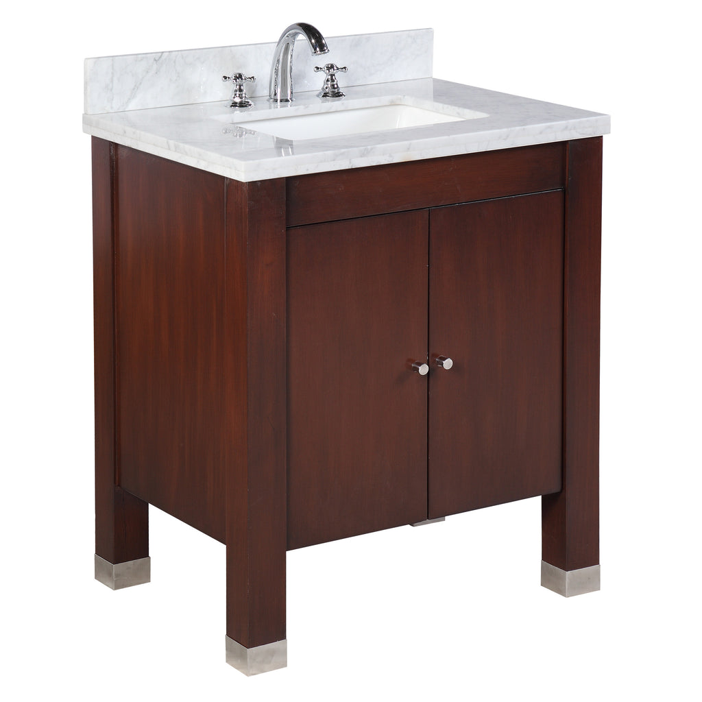 Riley 30-inch Vanity (Carrara/Chocolate)