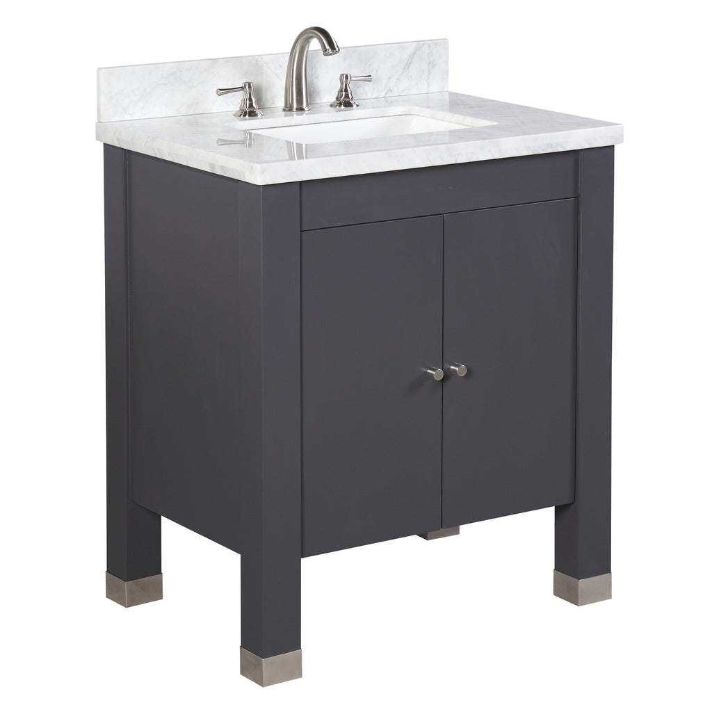 Riley 30-inch Vanity (Carrara/Charcoal Gray)