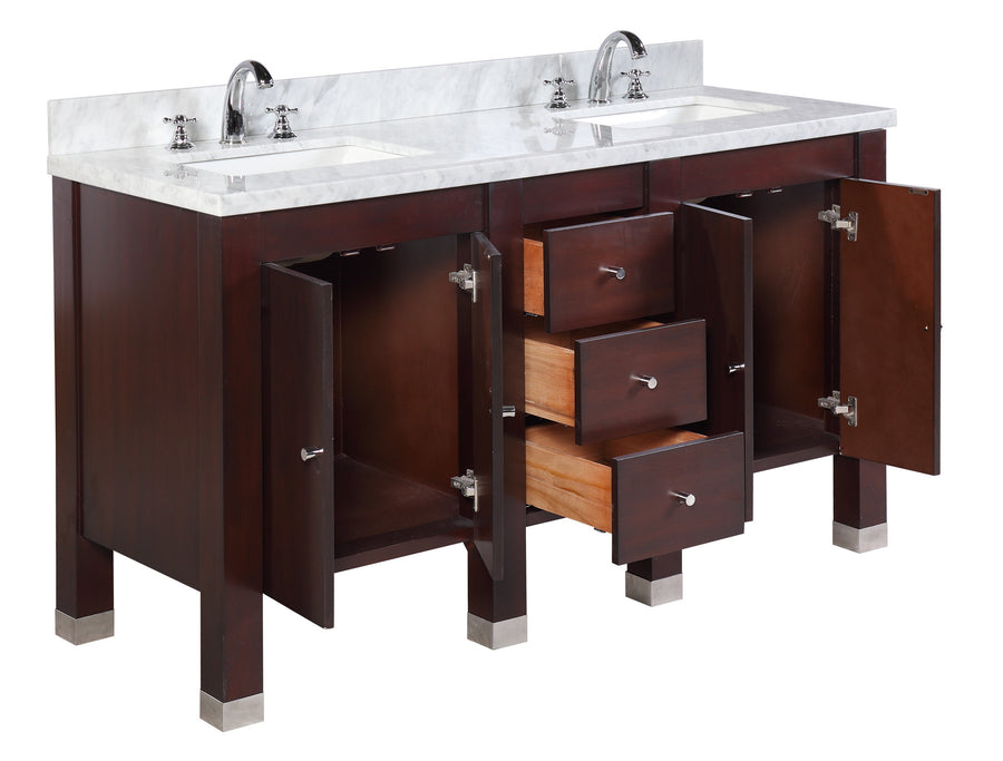"Riley 60"" Modern Chocolate Brown Double Bathroom Vanity with Carrara Marble Top"