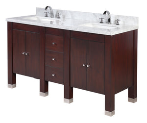 Riley 60-inch Double Vanity with Carrara Marble Top