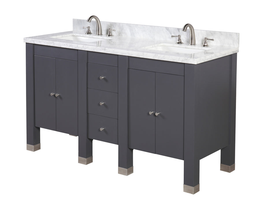 Riley 60-inch Double (Carrara/Charcoal Gray)