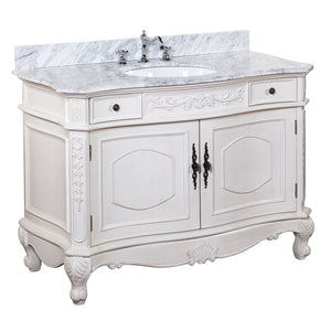 "Versailles 48"" Cream Bathroom Vanity with Carrara Marble Top"