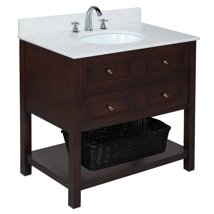 New Yorker 36-inch Vanity (White/Chocolate)