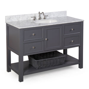 "New Yorker 48"" Charcoal Gray Bathroom Vanity with Carrara Marble Top"