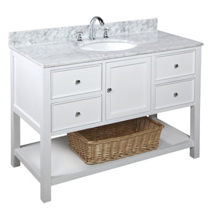 "New Yorker 48"" White Bathroom Vanity with Carrara Marble Top"