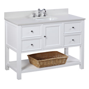 "New Yorker 48"" White Bathroom Vanity with Quartz Top"