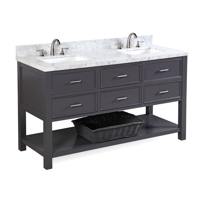 New Hampshire 60-inch Double (Carrara/Charcoal Gray)