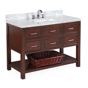 "New Hampshire 48"" Chocolate Brown Bathroom Vanity with Carrara Marble Top"