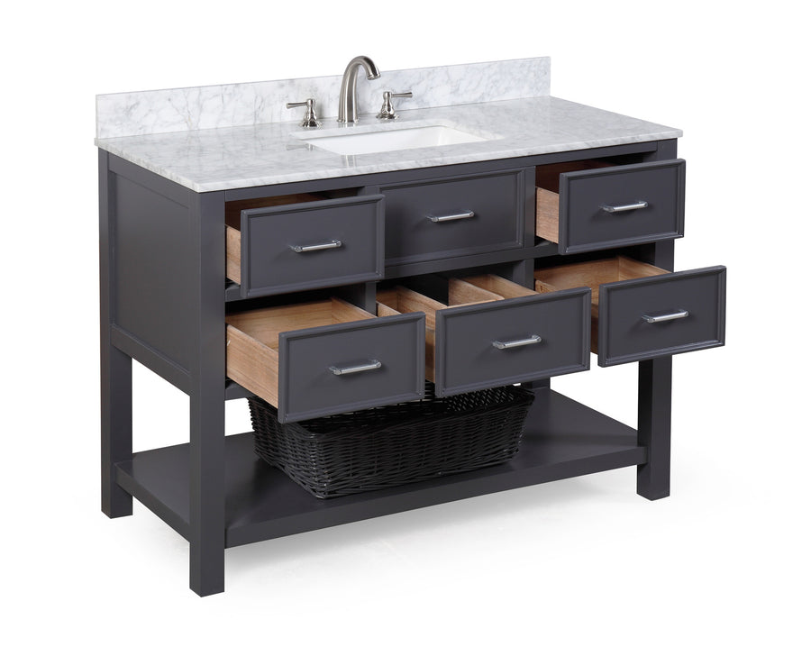 "New Hampshire 48"" Bathroom Vanity in Carrara Marble & Charcoal Gray"