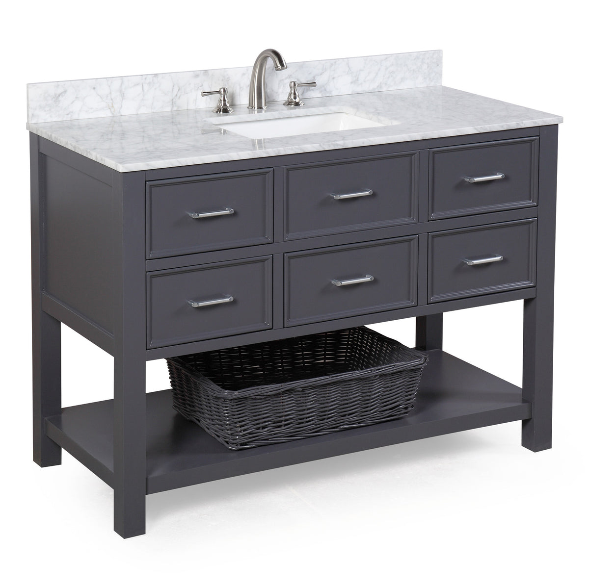 Discount Kitchen Cabinets Nh: New Hampshire 48-inch Vanity (Carrara/Charcoal Gray