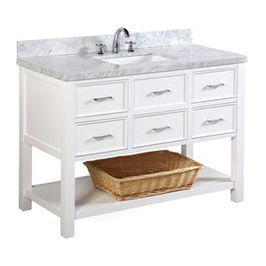 "New Hampshire 48"" Bathroom Vanity in Carrara Marble & White"