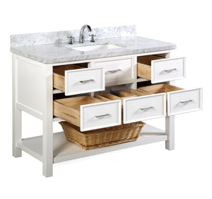 New Hampshire 48-inch Vanity with Carrara Marble Top