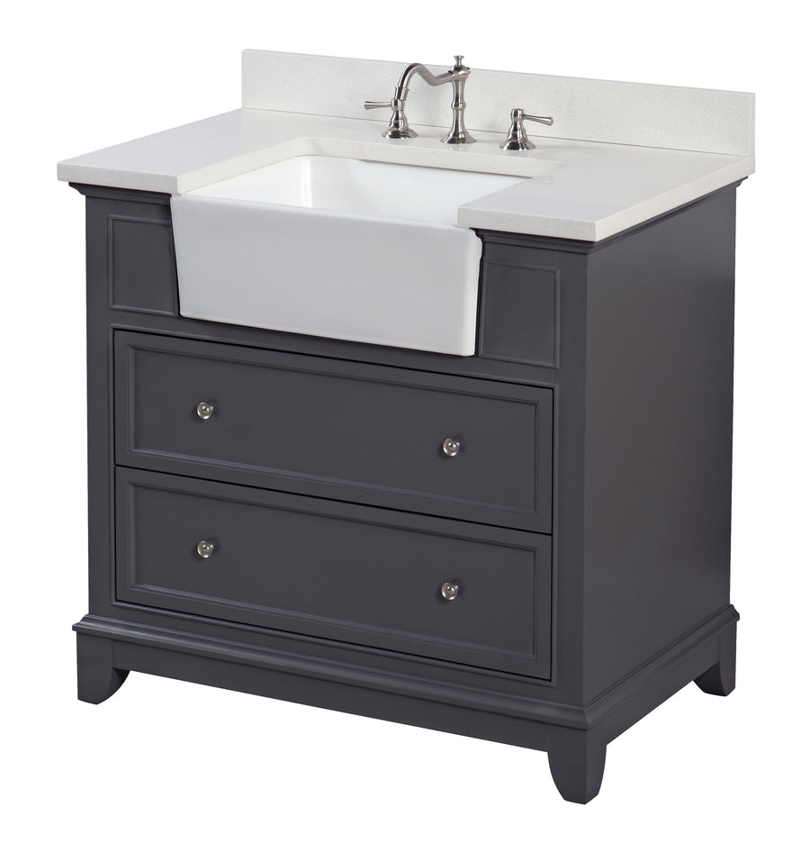 Sophie 36-inch Farmhouse Vanity in Quartz & Charcoal Gray