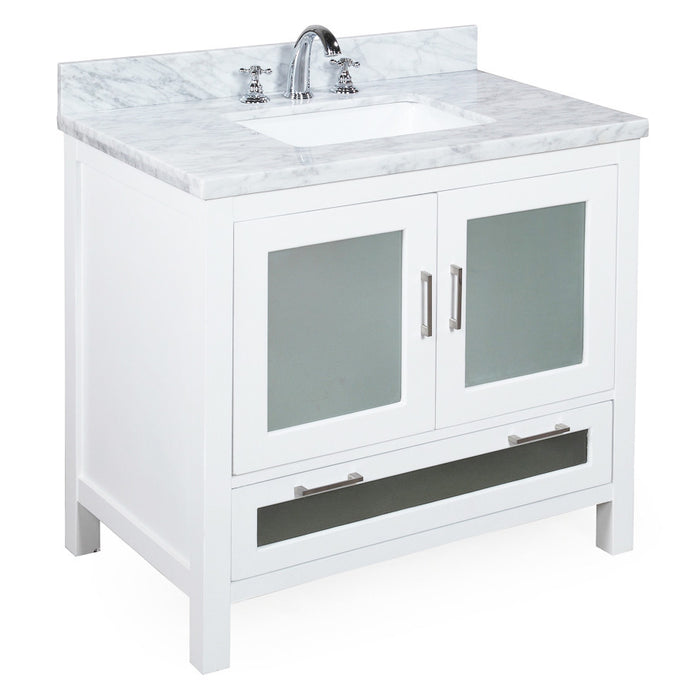 Manhattan 36-inch Vanity (Carrara/White)
