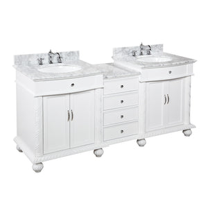 "Buckingham 72"" White Double Bathroom Vanity with Carrara Marble Top"