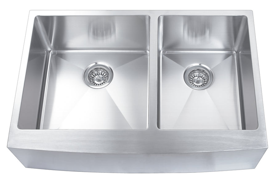 33-inch Farmhouse Stainless Steel Apron Kitchen Sink Set (Double Bowl)