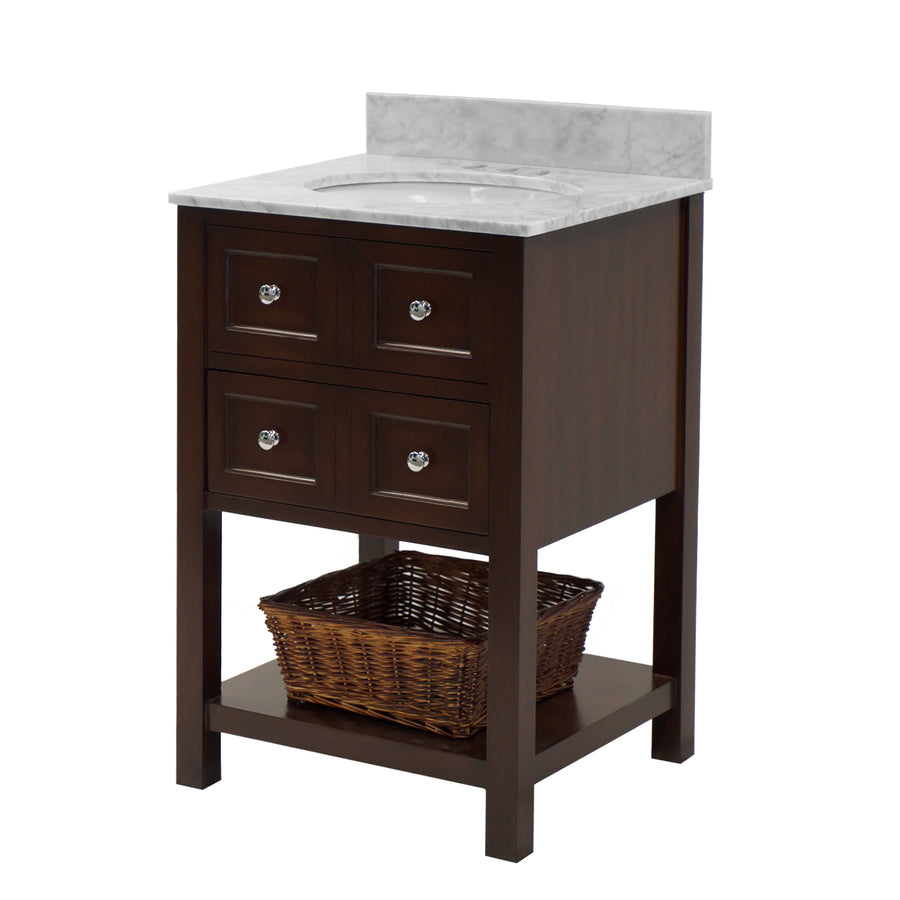 "New Yorker 24"" Chocolate Brown Bathroom Vanity Carrara Marble"