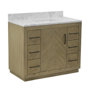 "Noah 42"" Bathroom Vanity in Carrara Marble & Gray Oak"