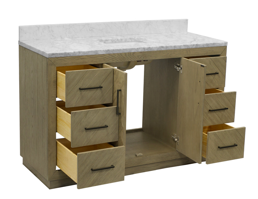 "Peyton 60"" Single Sink Bathroom Vanity in Carrara Marble & Gray Oak"