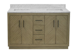 Peyton 60-inch Double Vanity (Carrara/Gray Oak)