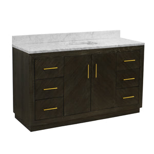 "Peyton 60"" Single Sink Bathroom Vanity in Dark Oak & Carrara Marble"