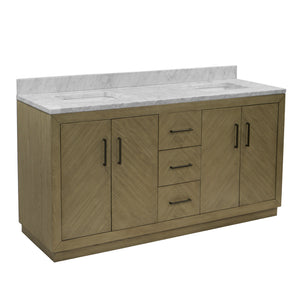"Peyton 72"" Modern Double Sink Bathroom Vanity Gray Oak Carrara Marble"