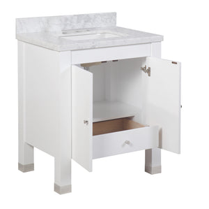 Riley 30-inch Vanity (Carrara/White)