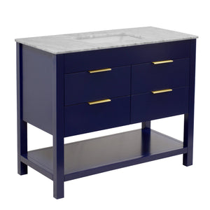 Harbor 42-inch Royal Blue Bathroom Vanity with Carrara Marble Top