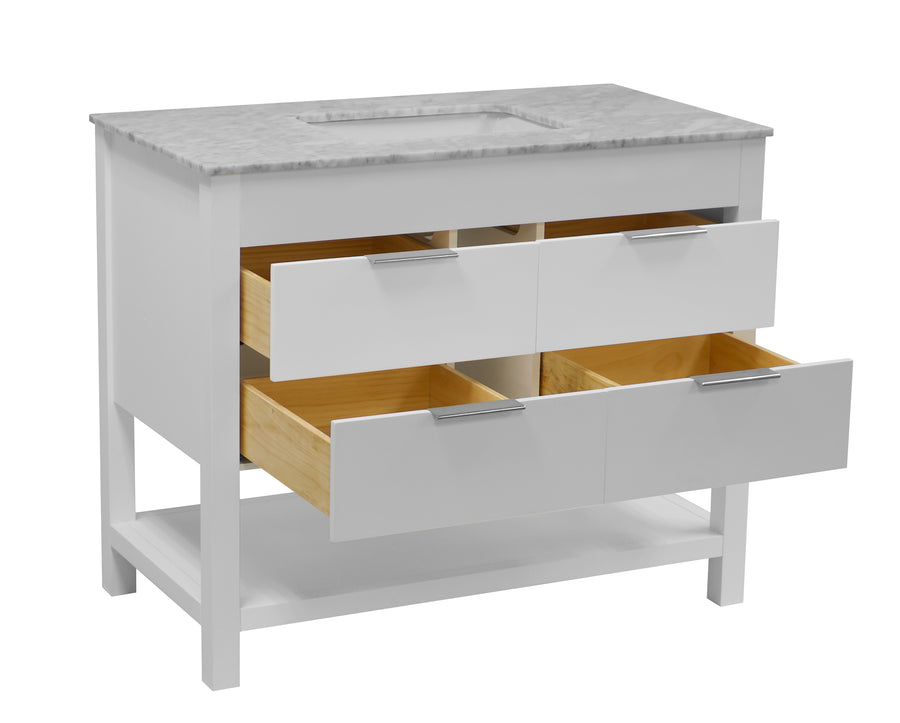 Harbor 42-inch White Bathroom Vanity with Carrara Marble Top