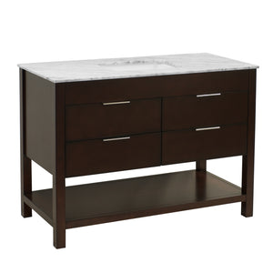 Harbor 48-inch Chocolate Brown Bathroom Vanity with Carrara Marble Top