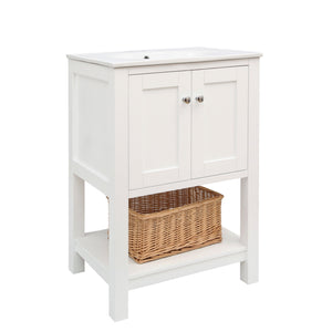 "Lakeshore 24"" White Shaker Style Bathroom Vanity Cabinet with Top"