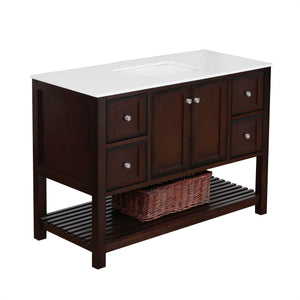 "Lakeshore 48"" Brown Shaker Style Bathroom Vanity with Quartz Top"