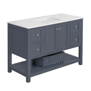 "Lakeshore 48"" Charcoal Gray Shaker Bathroom Vanity Quartz Top"