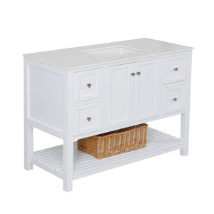 "Lakeshore 48"" White Shaker Bathroom Vanity Quartz Top"