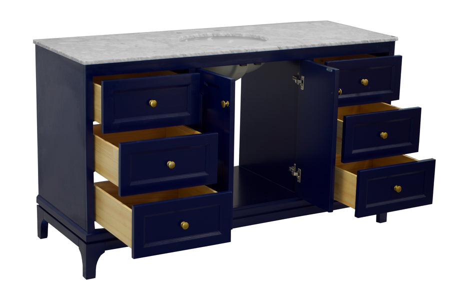 Starboard 60-inch Single Vanity (Carrara/Royal Blue)