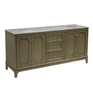 "Starboard 72"" Weathered Gray Double Sink Bathroom Vanity Marble Top"