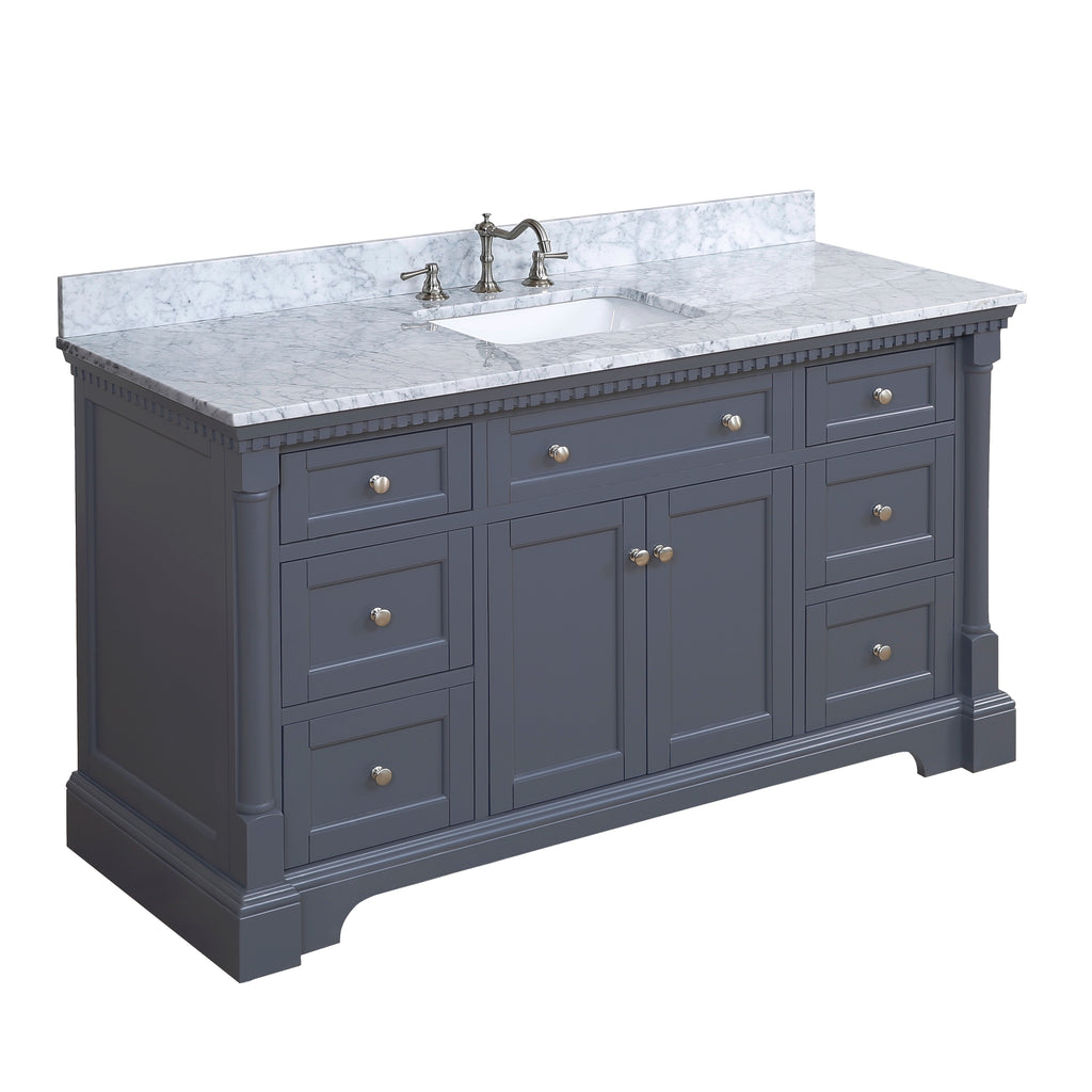 Sydney 60-inch Single (Carrara/Charcoal Gray)